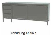 Arbeitsschrank mit Schiebetüren und Schubladen